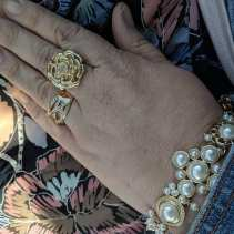 pearl statement bracelet on me